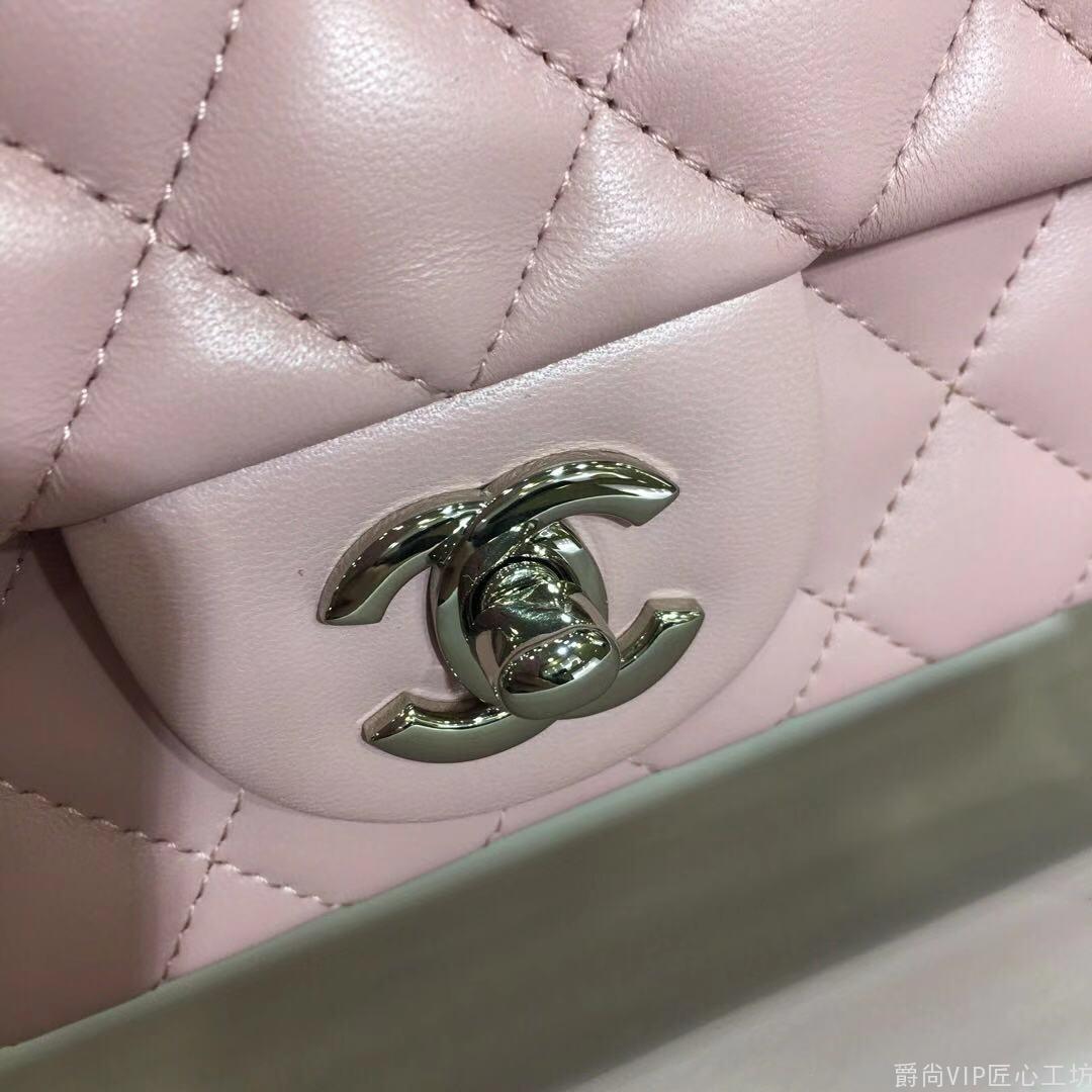 Cf 进口小羊皮 浅粉色 银扣~17cm