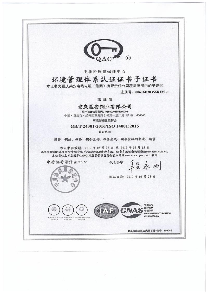 环境管理体系认证证书-盛安