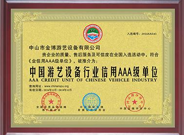 游艺设备行业AAA级单位