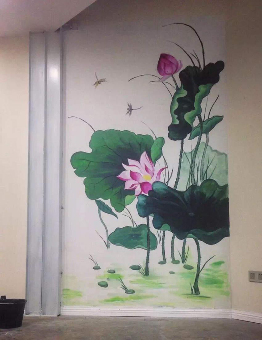 荷花-家装墙绘-案例欣赏-江西赤墨艺术文化墙体彩绘