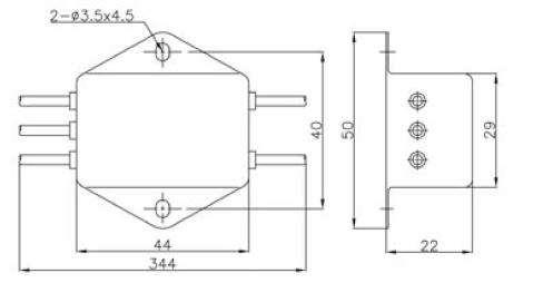 3A直流滤波器外形尺寸及管脚定义图