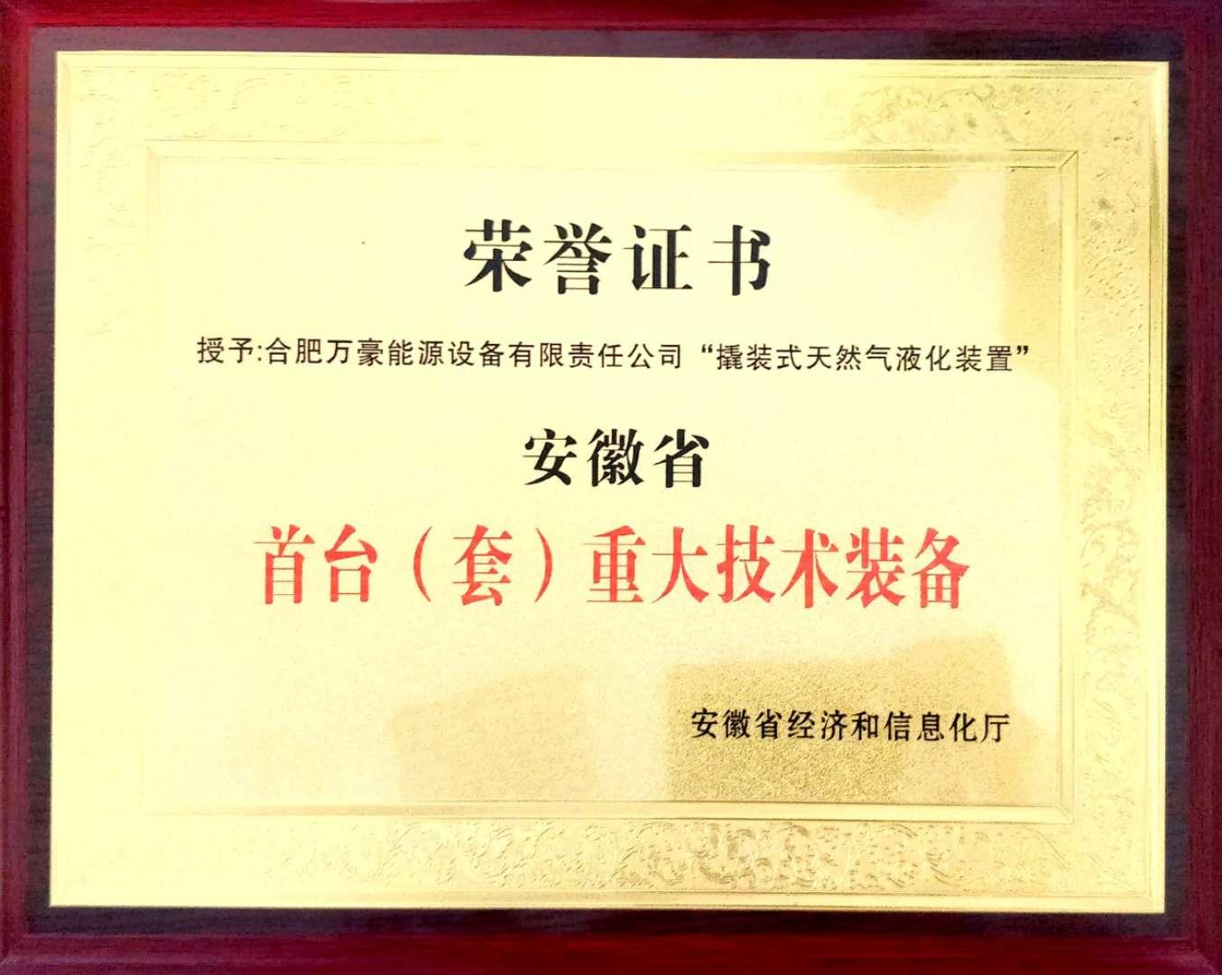 安徽省首台(套)重大技术装备