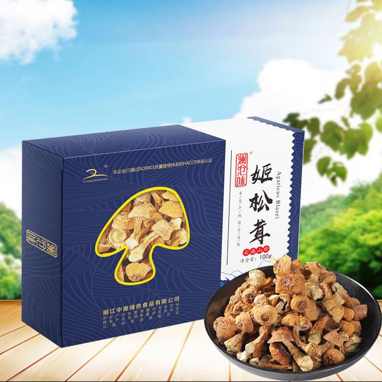 姬松茸干貨姫松茸菌云南特產巴西菇干雞松聳蘑菇特級盒裝100g中源綠色